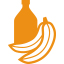 Bottle and banana - orange icon