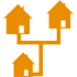 Residential houses neighborhood - orange icon