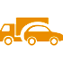 Truck and car - orange icon