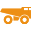 Mining minerals metals truck - orange icon